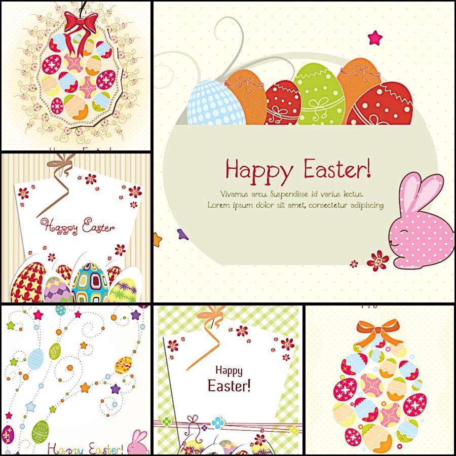 Lovely Easter Greeting Card Ornate Pattern Set Vector Mock Ups