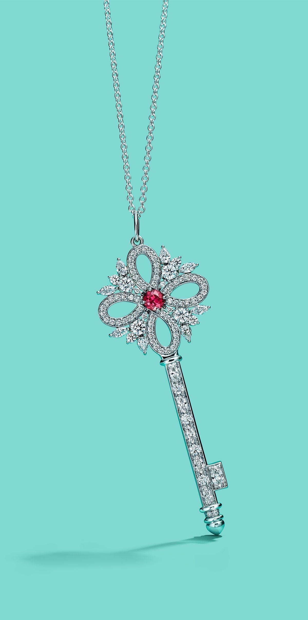 df27ab1affb0 Tiffany Keys Tiffany Victoria® key pendant in platinum with diamonds and a  ruby.