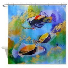 Humu Trigger Fish Shower Curtain> Humu Trigger Fish> Marionette's Kauai Art Gallery