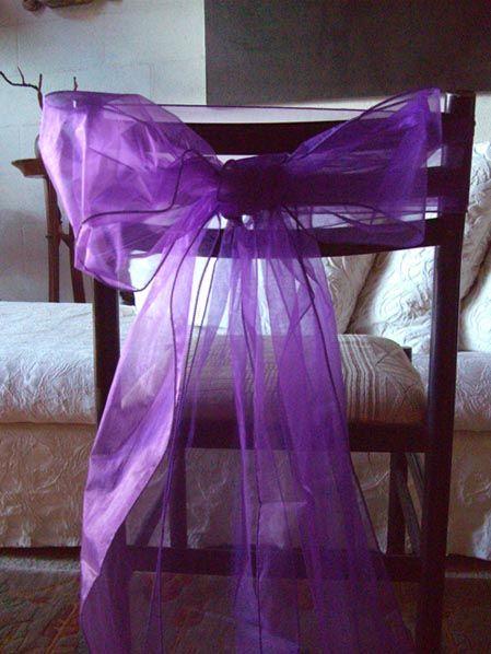 """Purple Patio Chair Seat Cushions: Richland 7""""x108"""" Purple Organza Chair Sash Set Of 10"""