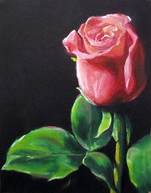 Oil Pastel Paintings Oil Pastels Flower Valentine