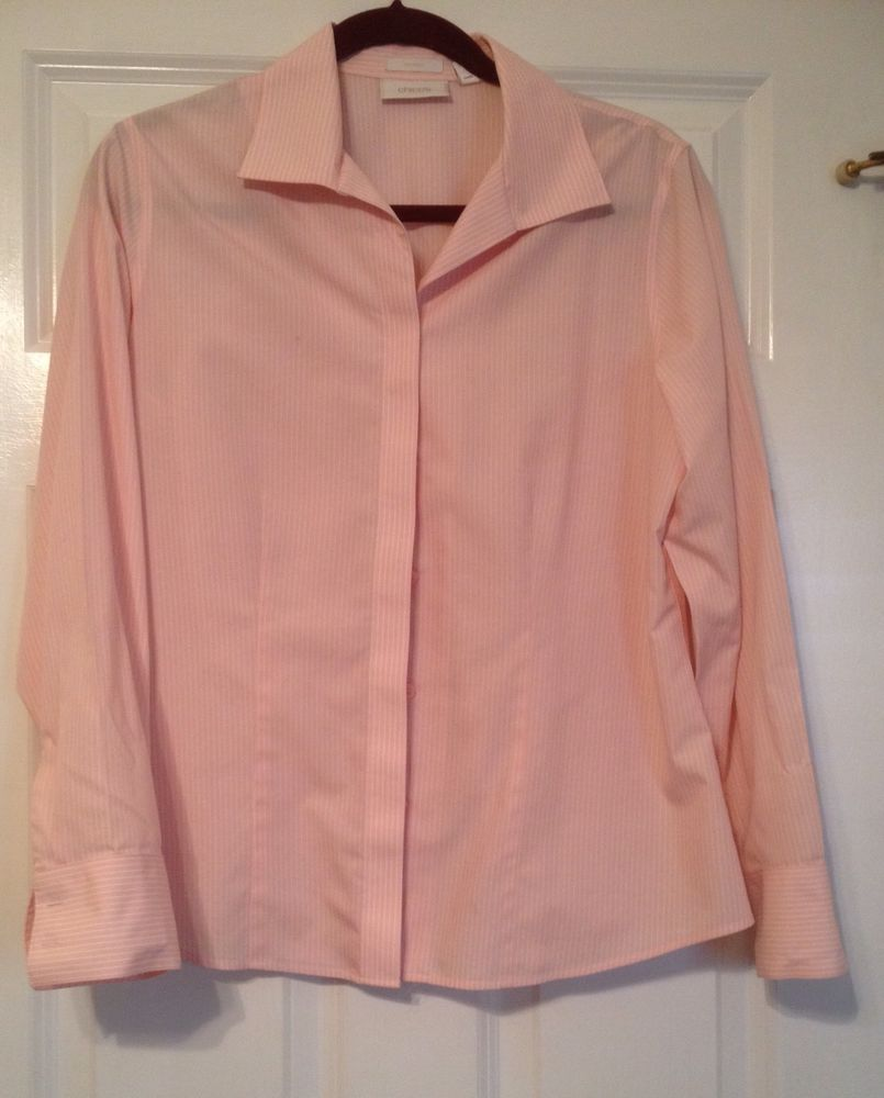 Chico S 100 Cotton Pink And White Long Sleeve No Iron Blouse Shirt