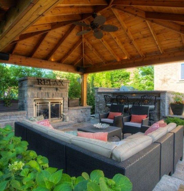outdoor pergola gazebo patio ideas Backyard Gazebo with Fireplace | Garden / Yard Pergolas