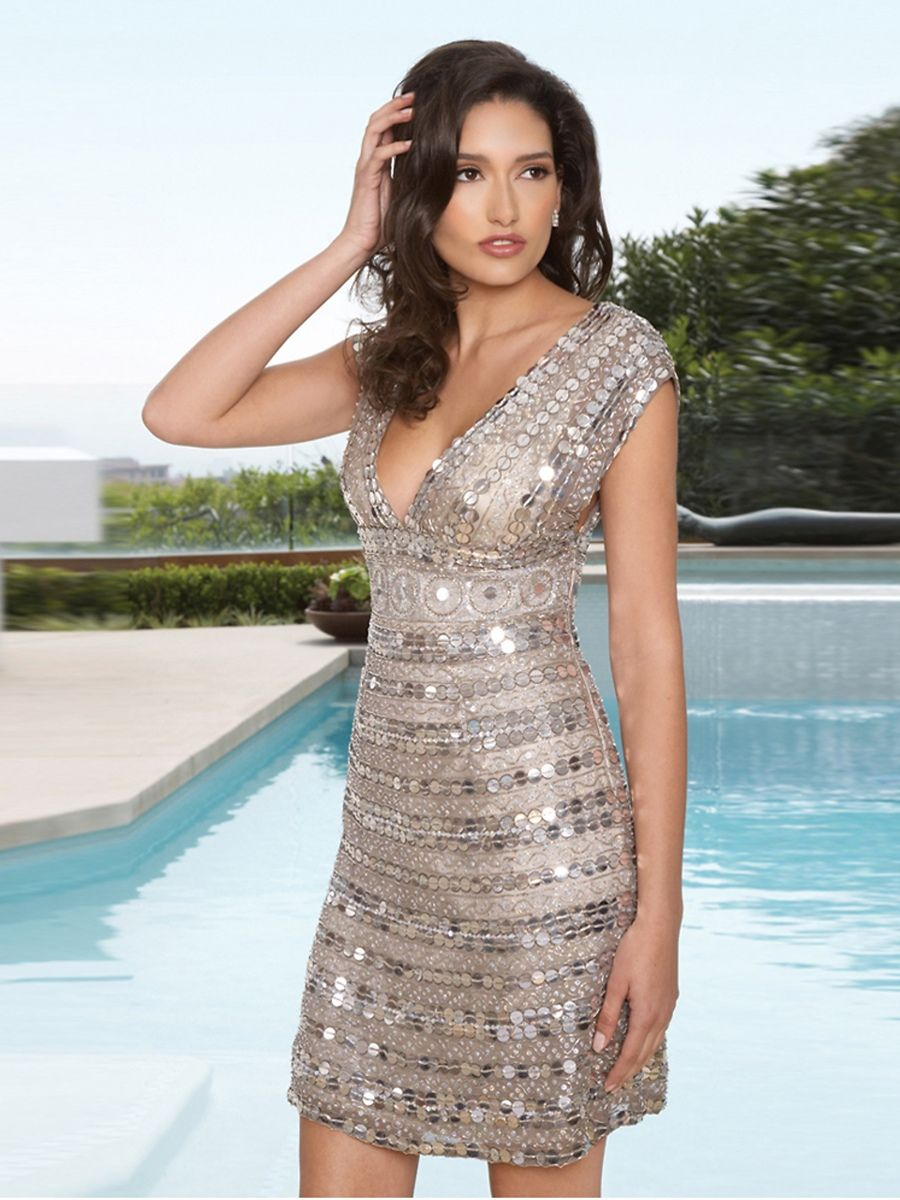 Short wide side zipper straps vneck dress with empire waistline