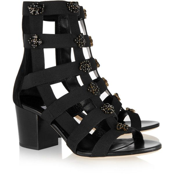 dbb8a77d464 Jimmy Choo - Myriad Crystal-embellished Elastic And Suede Sandals (1.360  BRL) ❤ liked on Polyvore featuring shoes
