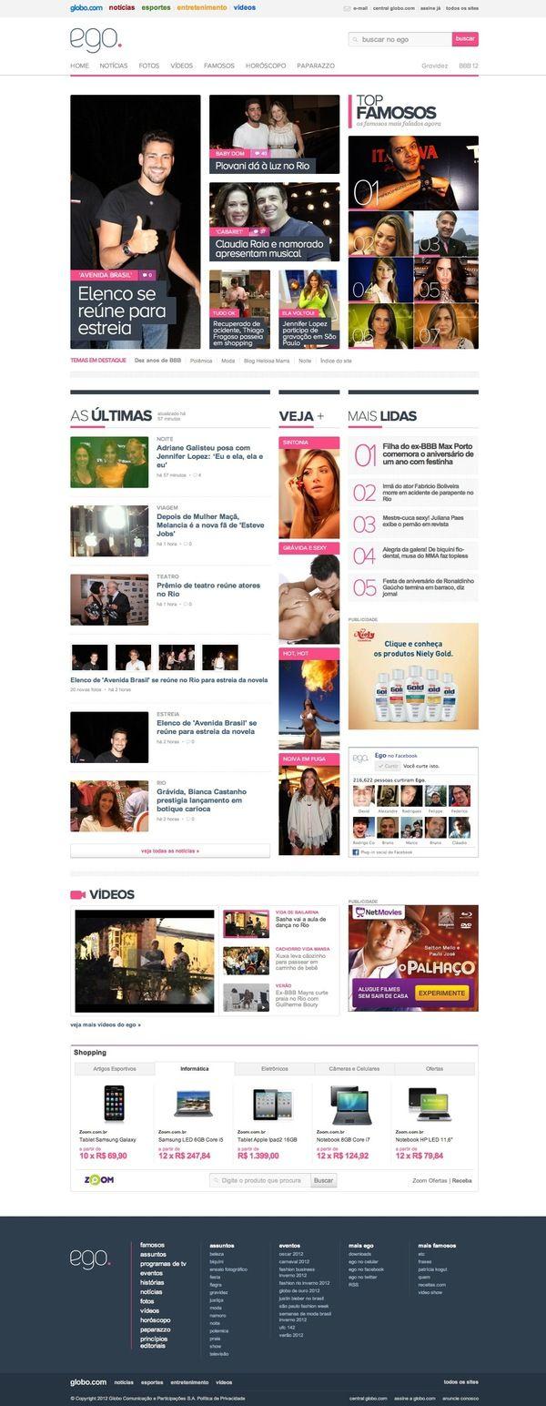 Redesign Do Portal Ego By Paulo Coimbra Via Behance Interactive Web Design News Web Design Magazine Web Design