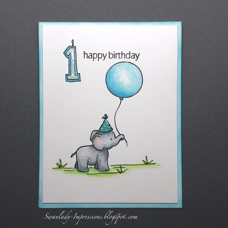 Swanlady Impressions Birthday Boy First Birthday Cards Watercolor Birthday Cards 1st Birthday Cards