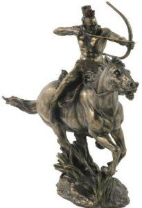 Mohican Warrior on Horseback Shooting Arrow Statue - This statue showcases the strength, courage, and prowess of a Mohican warrior charging into battle.  $89.95