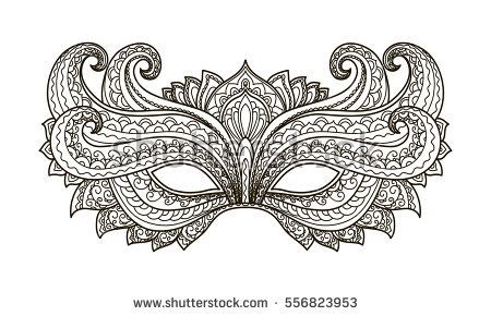 Stock Vector Carnival Masks Masquerade Mask Drawing