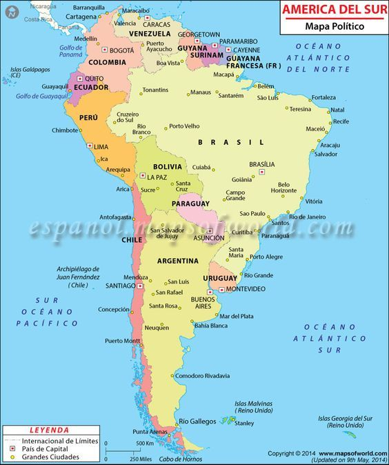 Mapa Politico de America del Sur | maps | South america map, New ...