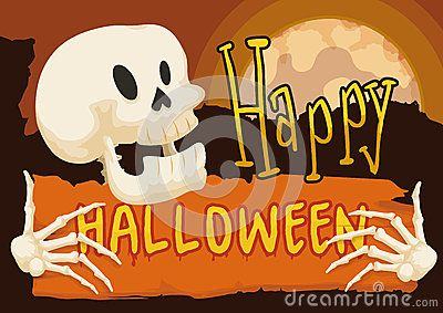 Happy skull with a orange scroll with greeting message for halloween happy skull with a orange scroll with greeting message for halloween in a mysterious night with full moon m4hsunfo