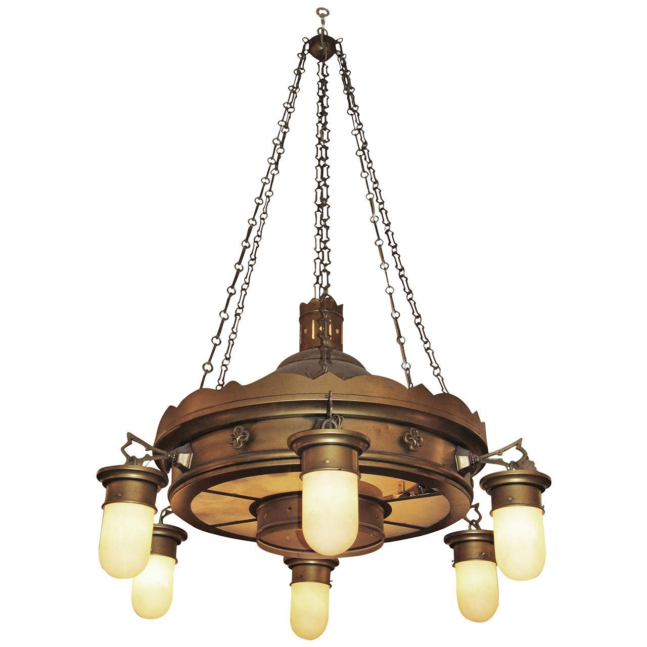 1940s brooklyn church brass and steel downlight chandelier with 1940s brooklyn church brass and steel downlight chandelier with original shades arubaitofo Images
