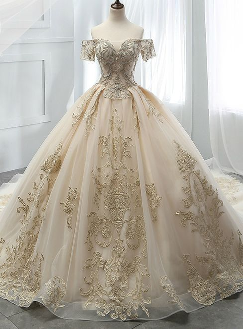 Photo of Champagne Ball Gown Tulle Off The Shoulder Appliques Wedding Dress #weddingdress