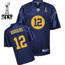 3e12afa05 Packers  12 Aaron Rodgers Blue Bowl Super Bowl XLV Stitched NFL Jersey