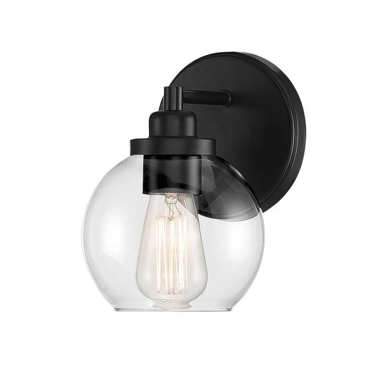 Photo of Savoy House 9-4050-1 Carson 1 Light Bath Matte Black Indoor Lighting Bathroom Fixtures Bathroom Sconce