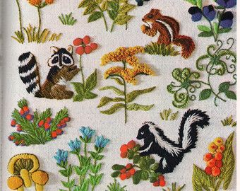 Two Crewel Embroidery Patterns Vintage Needlepoint Woodland Nursery Birds Animals
