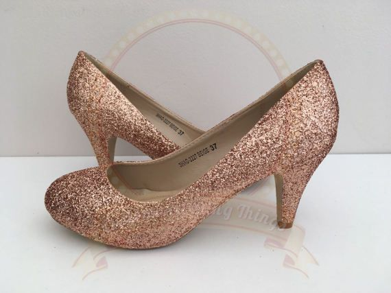 0d32735922a Rose Gold Glitter Heels - Copper Glitter - Mid Heel - Bridal ...