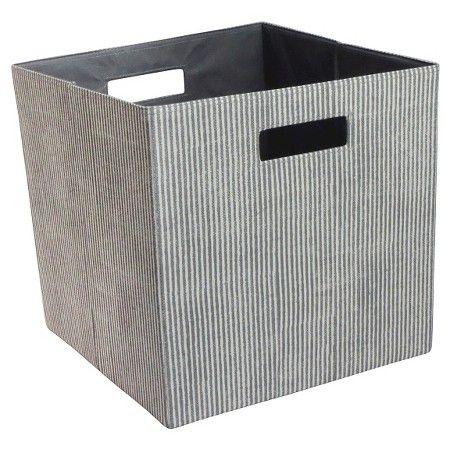 13 Fabric Cube Storage Bin Striped Gray Threshold Cube Storage Bins Cube Storage Fabric Storage Cubes