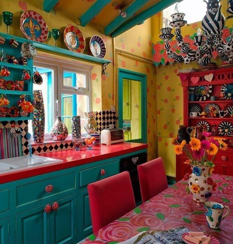 20 Unusual Bohemian Kitchen Decorations Ideas To Try Bohemian Kitchen Mexican Kitchen Decor Bohemian Style Kitchen