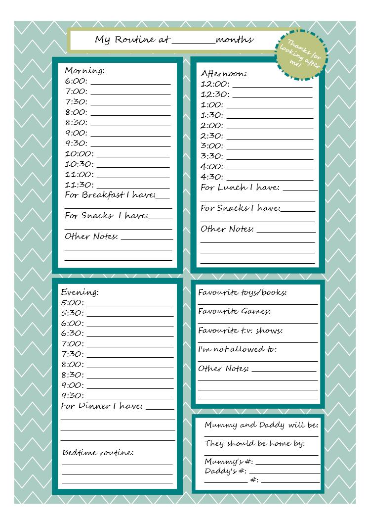babysitting info sheet