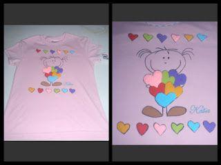 camiseta pintada a mano niña corazones