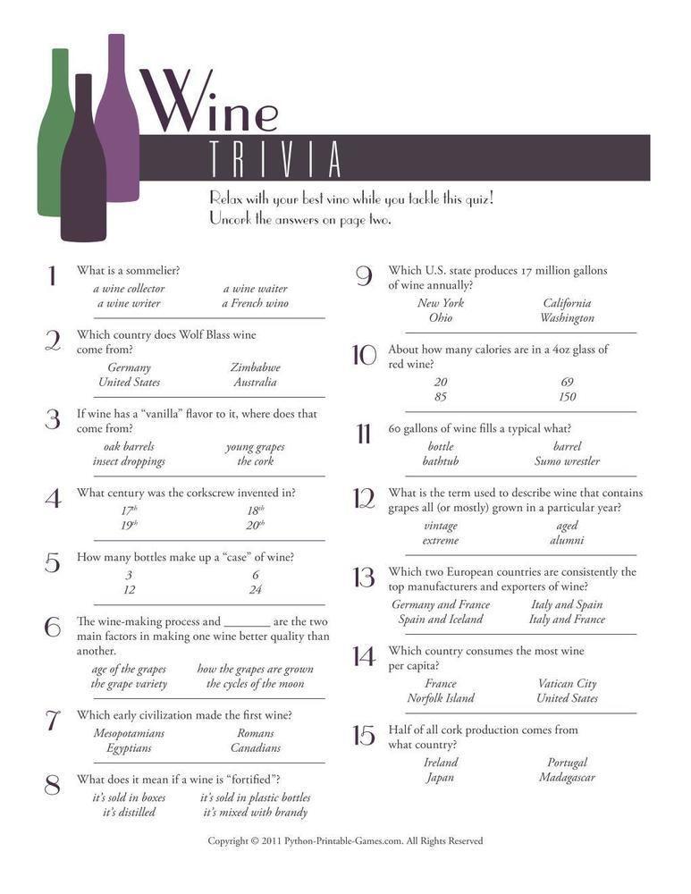 Foods Drinks Games Wine Trivia 6 95 Foods Drinks