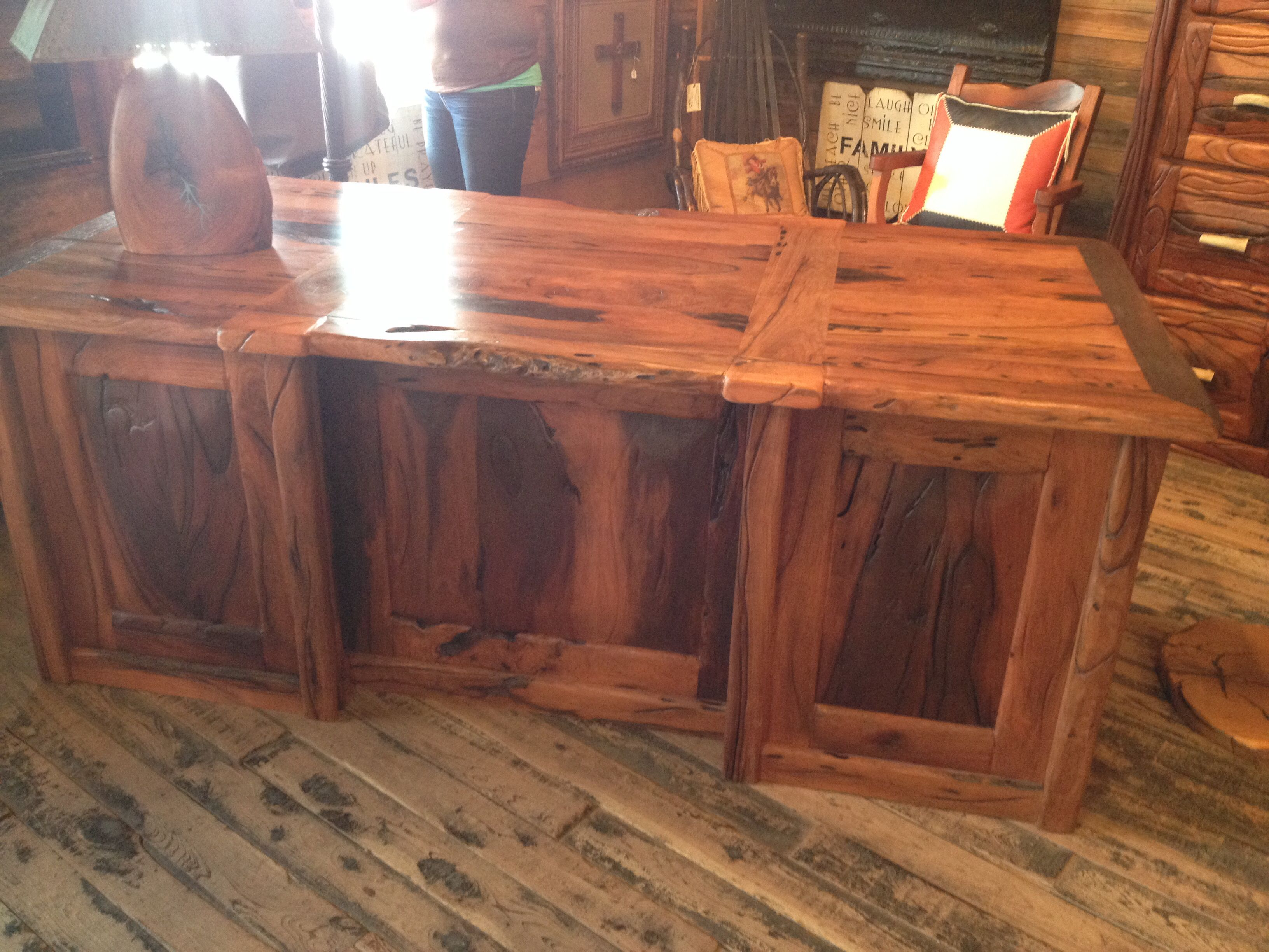 Raw Timber Furniture Rustic Handmade Mesquite Desk From Texas Hill Country