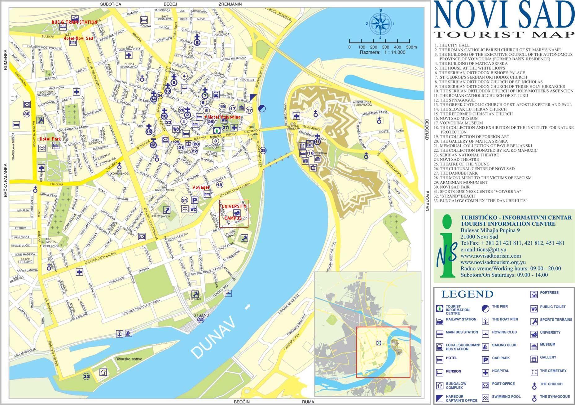 Novi Sad Tourist Map Novi Sad Vojvodina Serbia Pinterest - Novi sad map