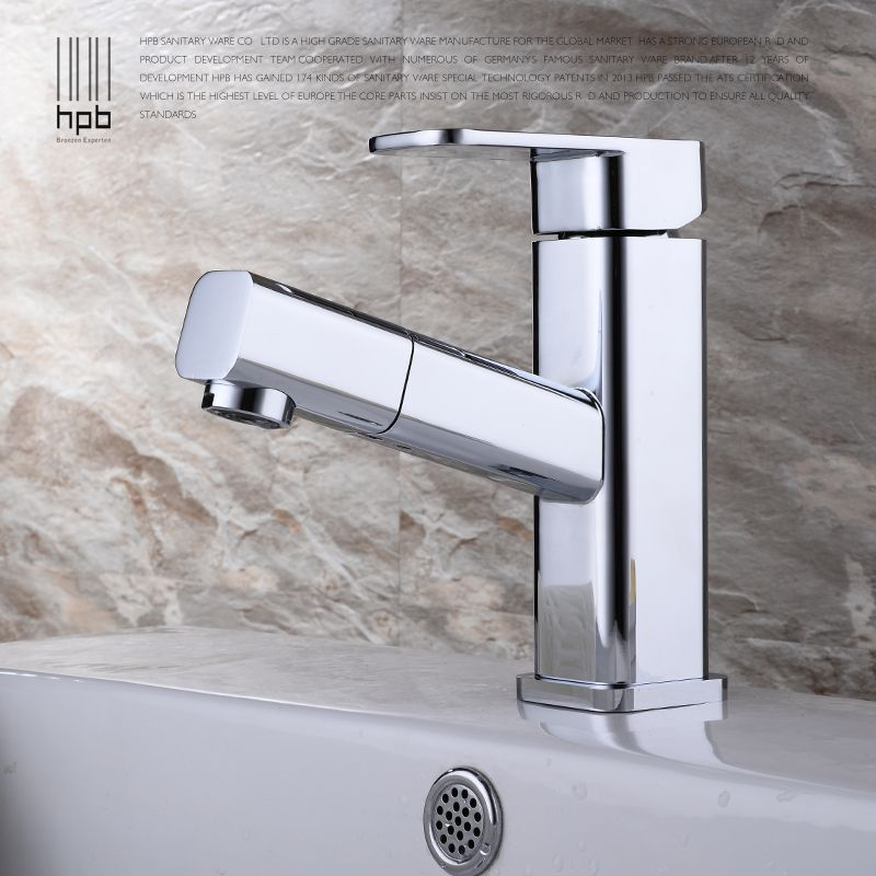 Wuhan copper pull type faucet hot basin washbasin tap with