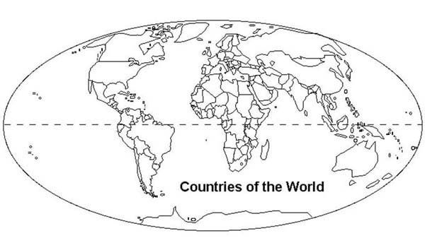 World Map With Countries Coloring Page With Images World Map