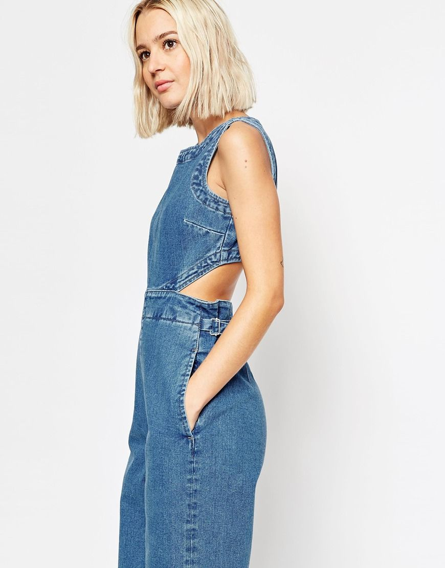 Wide Leg Denim Jumpsuit Photo Album - Reikian