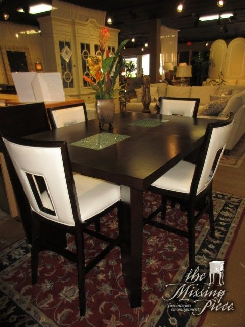 Steve Silver Pub Table In Dark Finish With Four Chairs In A Faux