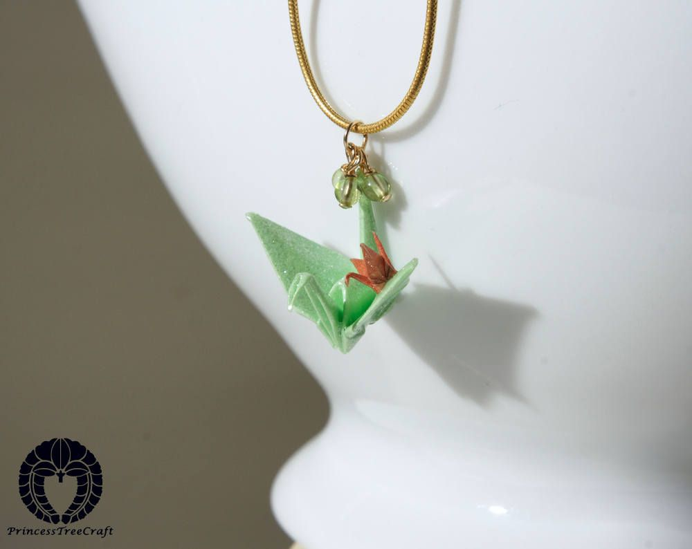 Photo of Origami crane pendant, origami crane necklace with 14K gold on 925 sterling silver chain – Pastel green mom and beige baby cranes