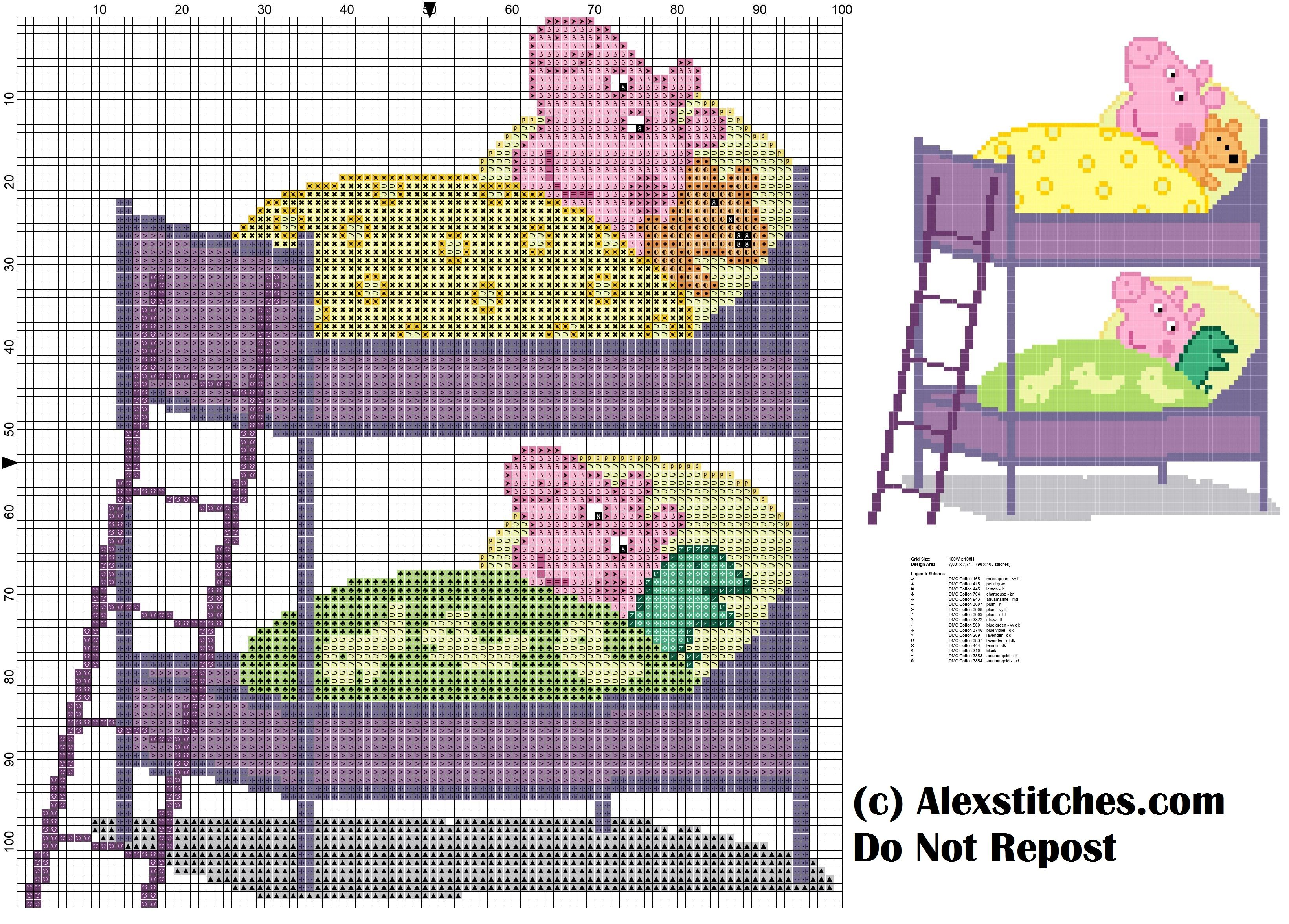 peppa pig and sleep in bunk bed cross stitch