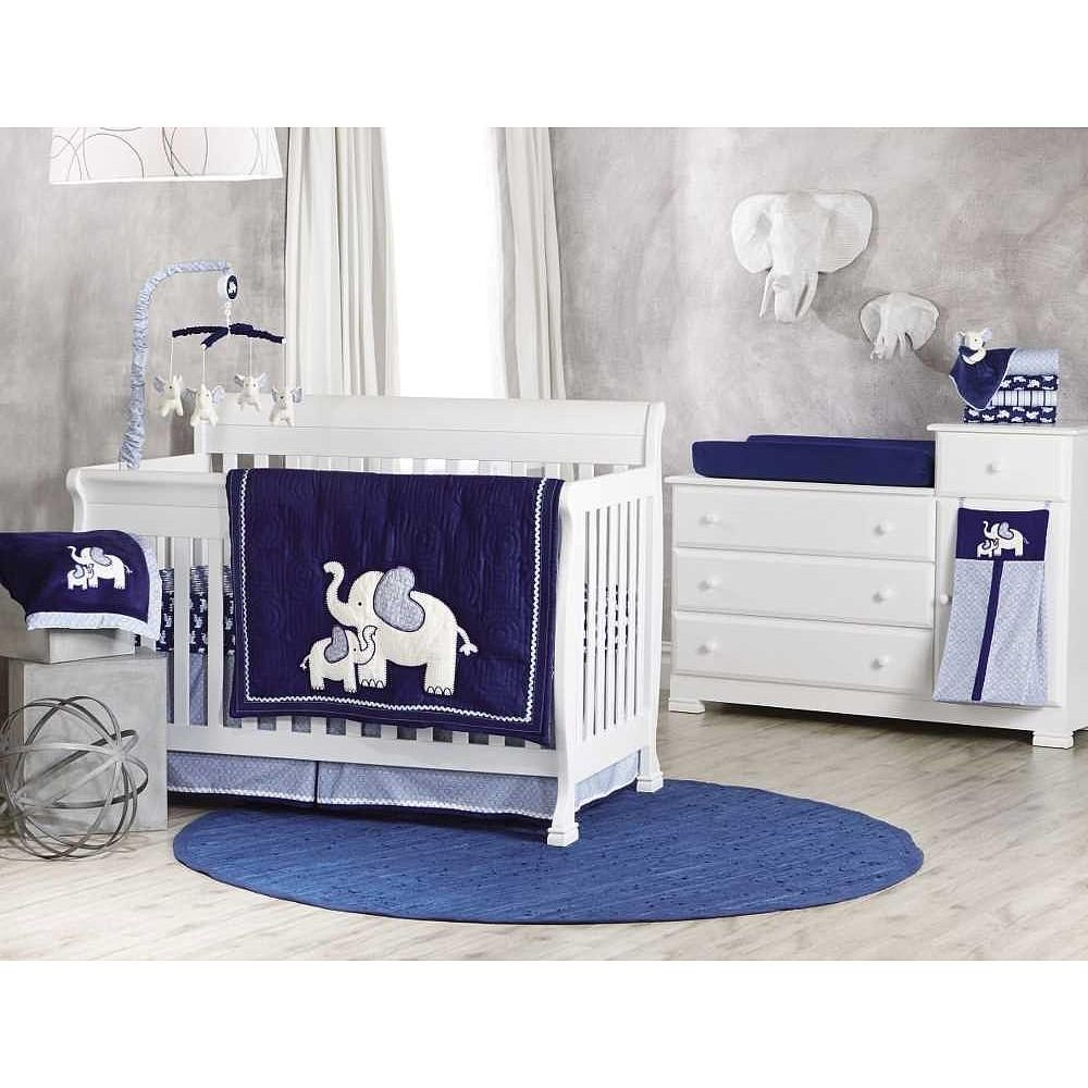 Koala Baby First Love 4 Piece Crib Bedding Set Elephant Navy