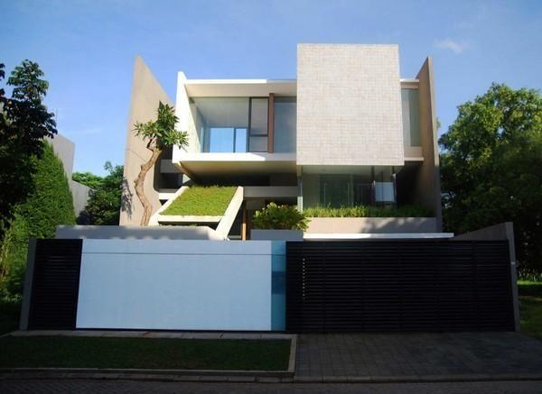 Front Views At Modern Home Design In Jakarta Large Garden - Modern house jakarta