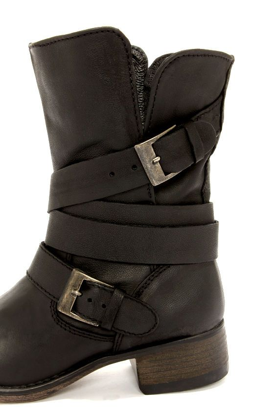 ff7ca2e1139 Steve Madden Brewzzer Black Leather Belted Midcalf boot. So cute!