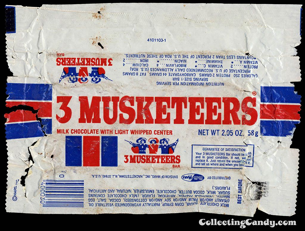 3-Musketeers chocolate candy bar wrapper-1980