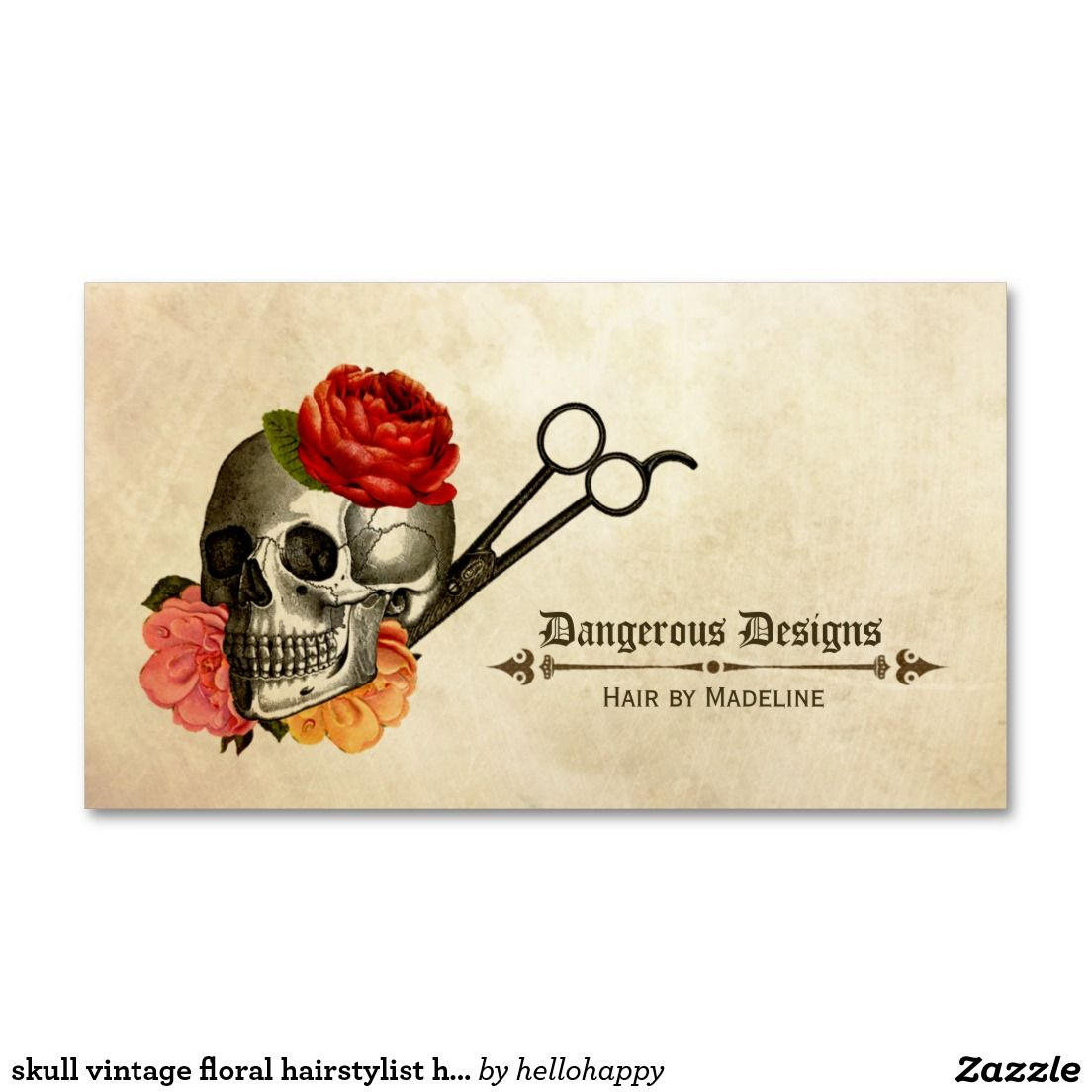 Skull vintage floral hairstylist hair stylist business card skull vintage floral hairstylist hair stylist pack of standard business cards reheart Image collections