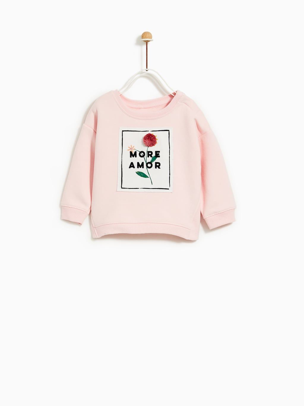 Image 1 of PATCH SWEATSHIRT WITH POMPOM FLOWER from Zara  3c8193ab136