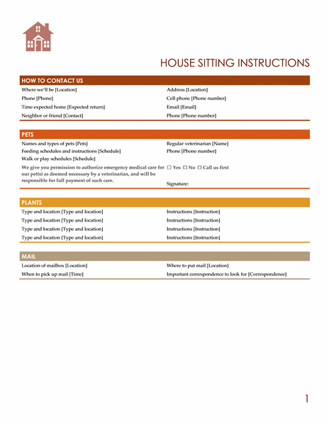 House Sitting Instructions Templates Office Com House