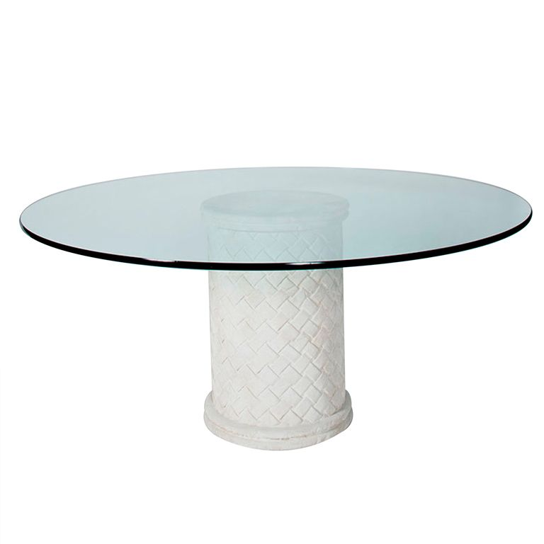 Columnar Dining Table With Round Glass Top Dine Dining Dining
