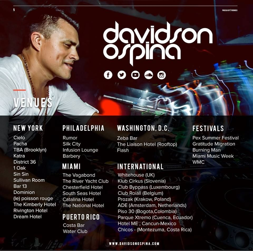Official davidson ospina 2016 epk press kit for Band epk template