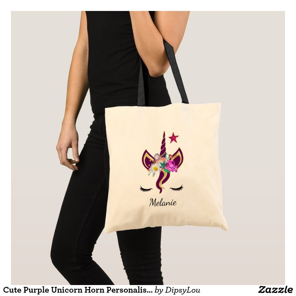 Cute Purple Unicorn Horn Personalised Tote Bag   Zazzle.com