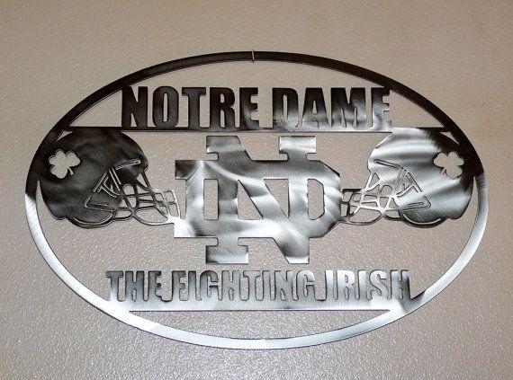 Notre Dame Wall Art notre dame fooball wall art metal art homemegametaldesigns
