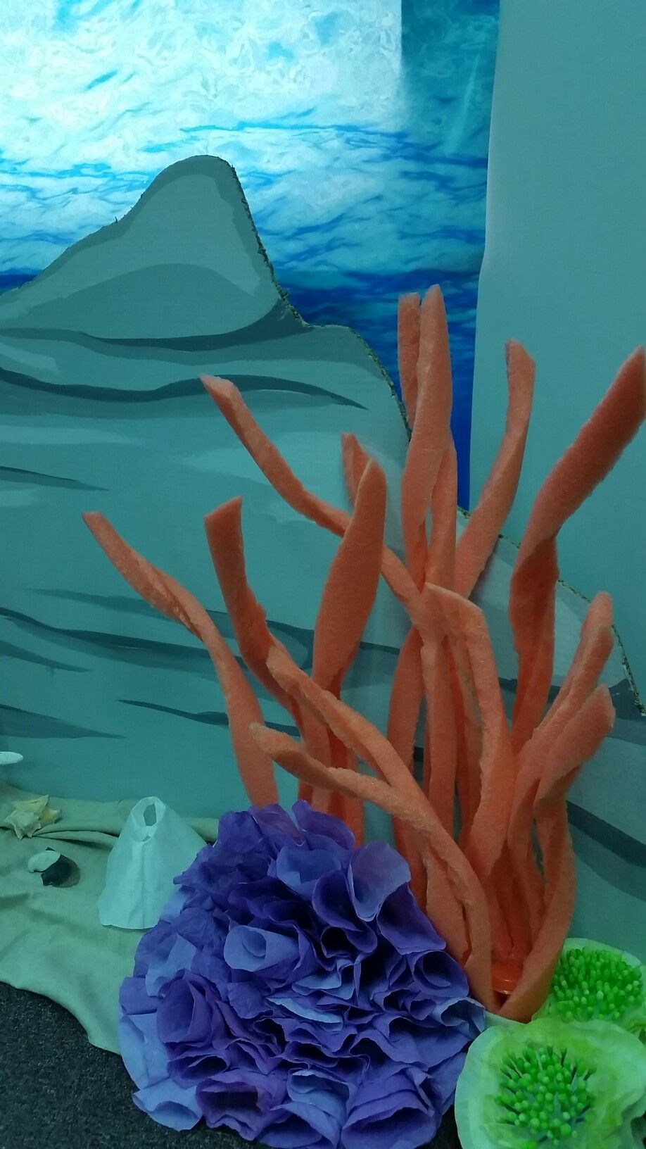 Coral reef: Pool noodles, coffee filters, and q tip coral