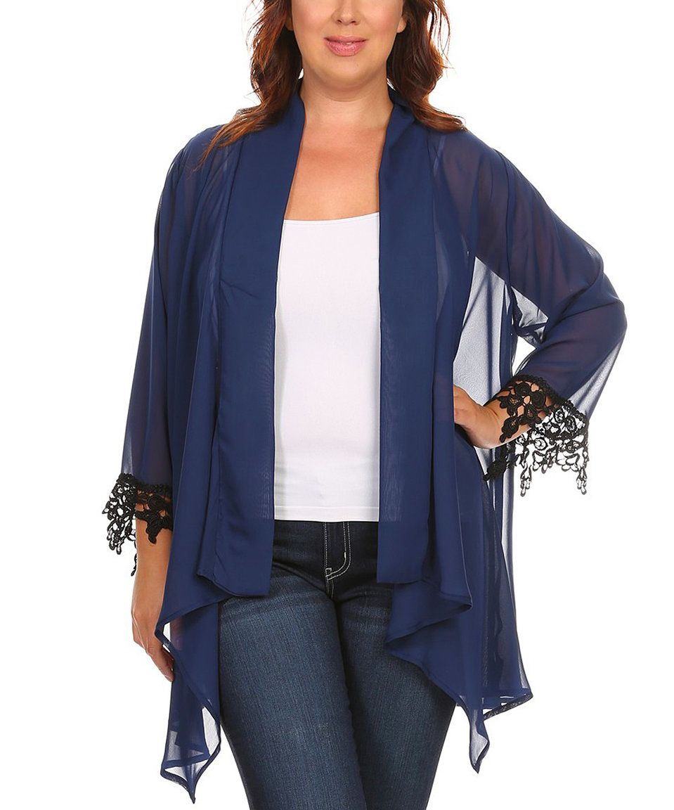 Take a look at this CANARI Navy Sheer Crochet-Trim Open Cardigan ...