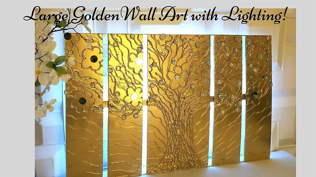 Diy Lighted Metallic Wall Art Decor Wall Decor Ideas In Gold Diy Wall Decor Diy Home Decor Diy Wall