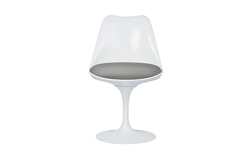 Saarinen Tulip Armless Chair Fog Vinyl With White Base 1 636