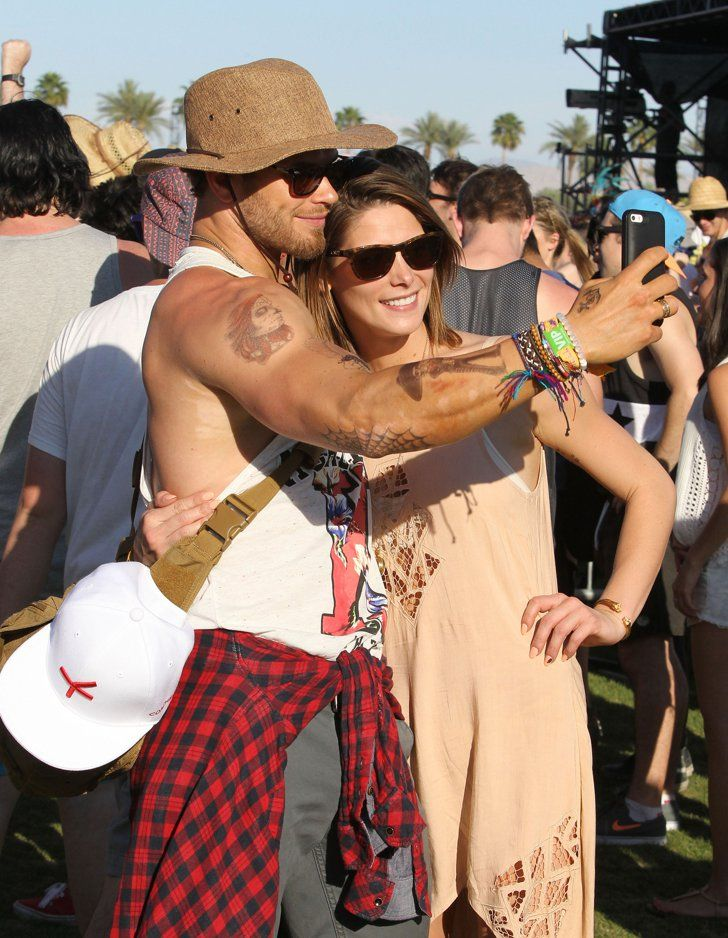 Pin for Later: The Stars Come Out to Play in Coachella Valley Kellan Lutz showed off his guns while taking a selfie with Ashley Greene.